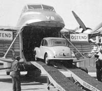 A Morris Minor is loaded into the Bristol