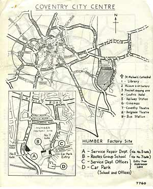 Directions to the Humber factory in Coventry