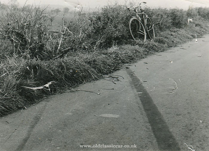Skid marks on the road