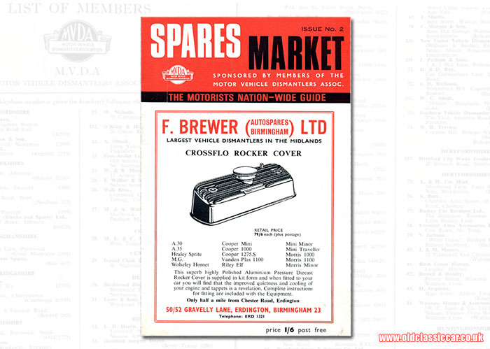 Classic car spares magazine from the 1960s