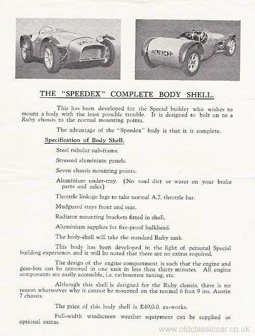 Leaflet for the Speedex bodyshell