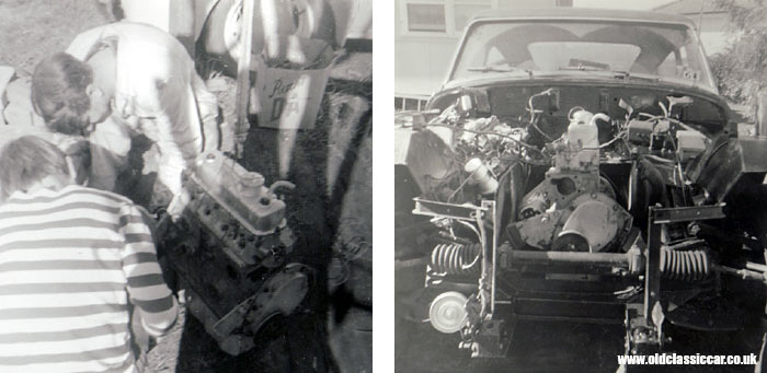 Working on the Austin-Healey's engine