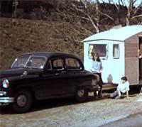 A Standard Vanguard car tows a caravan