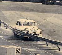 Crash testing a Vanguard into a barrier