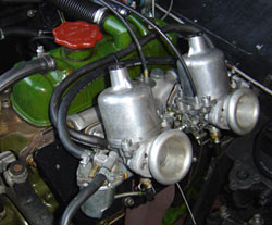 twin SU carburettors fitted to a BMC A series engine