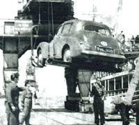 Sunbeam-Talbot 90 being unloaded from a ship by crane