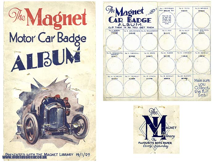 An album used for collecting Magnet motor car badges