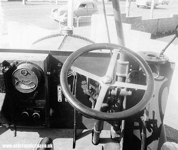 Behind the wheel of the fire engine