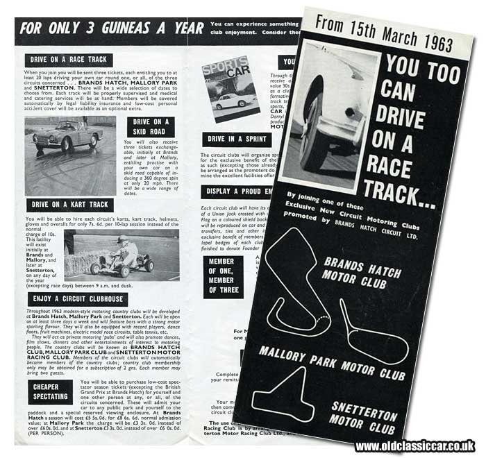An invitation to drive one's car at a UK racing circuit in the 1960s