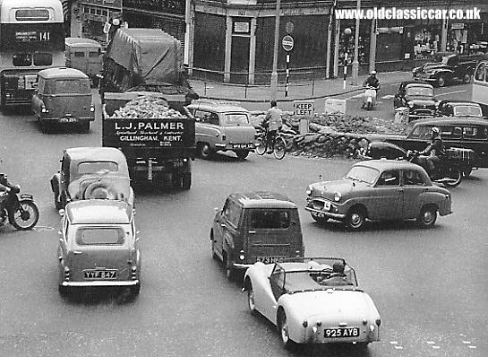 Busy roads and traffic in the fifties