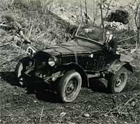 A car competes in a post-war trial