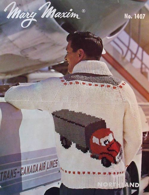 Knitting pattern featuring a classic truck