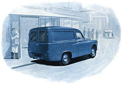 Rear view of the Commer van