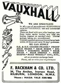 Early 1950s ad for Vauxhall car parts