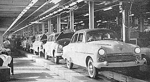 Photo showing the production line at Vauxhall's