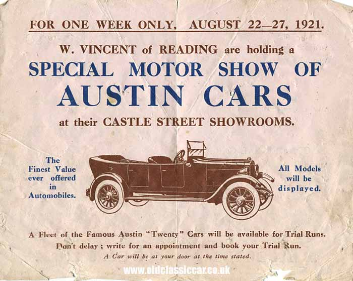 Invite to test the Austin 20 cars