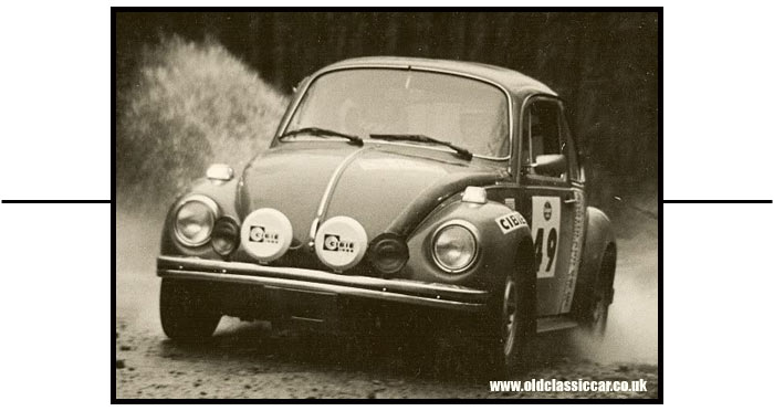 Beetle competing in a 1970s' rally