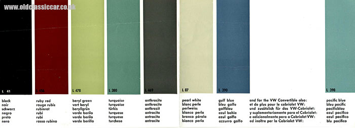 custom vw beetle interior. 1960s VW Beetle colour chart.
