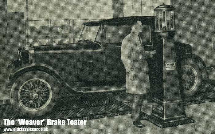 Brake testing equipment suitable for a garage