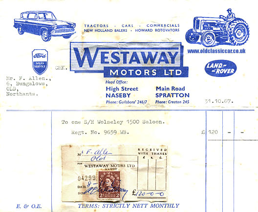 Old invoice for a Wolseley 1500