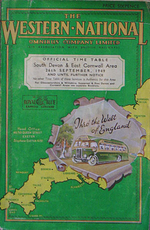 Cover from a Western National bus timetable