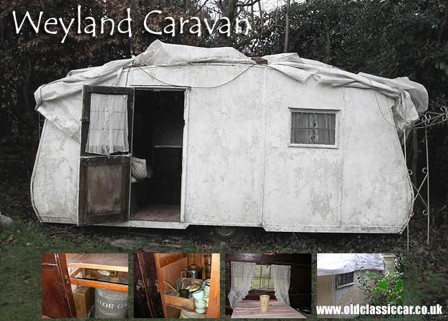 Weyland caravan seen in a garden