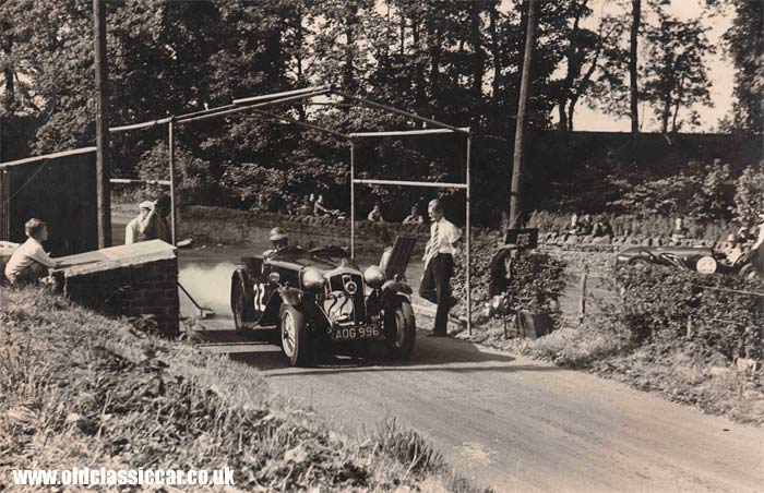 Wolseley at the start of the hillclimb course