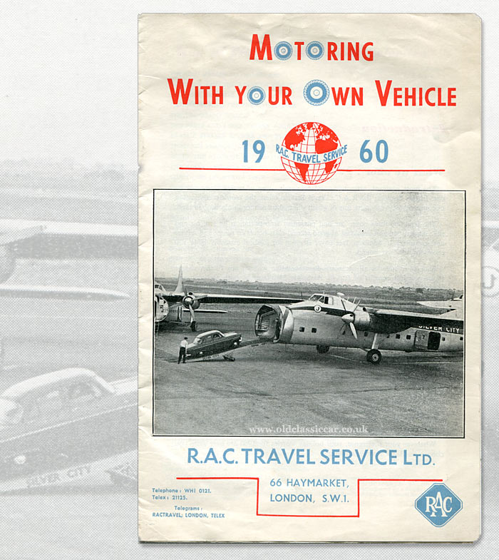 Silver City Bristol Superfreighters on the cover of RAC Travel Service leaflet