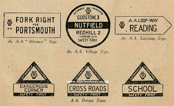 AA Road warning & town signs 1930s