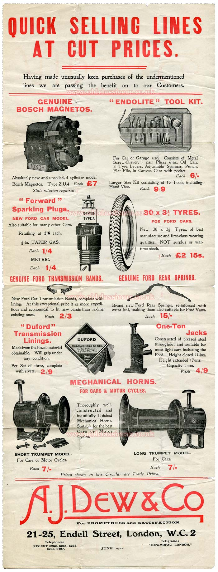 Car parts poster from 1922