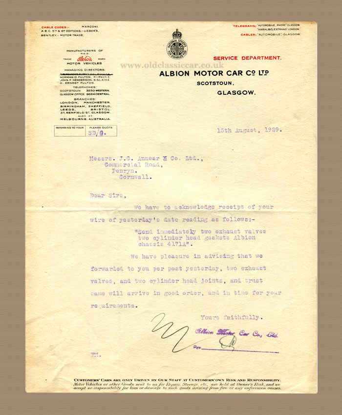 Letter sent by the Albion company in 1929