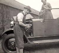 Bonnet up on the vintage car
