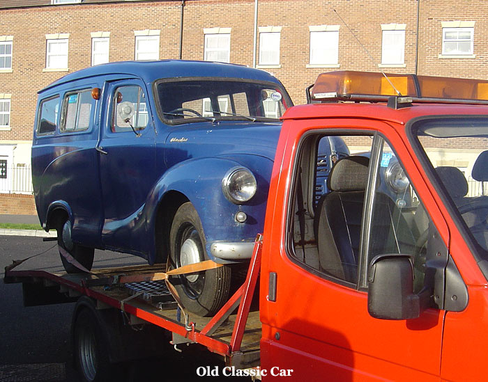 Austin A40 Countryman on a breakdown truck