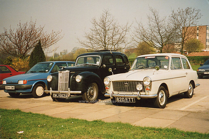 The A40 parked next to a Ford Prefect