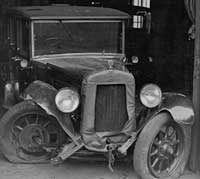 Frontal view of the damaged Austin