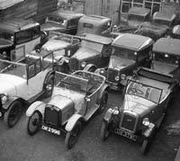 Austin 7s at a Cambridge garage