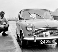 Driving lessons in a 1960 Mk1 Mini