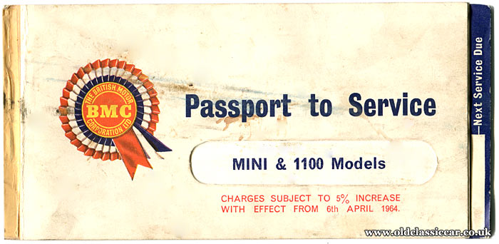 Passport to Service booklet for Austin 1100