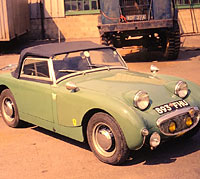 Colour photo of the green Austin-Healey