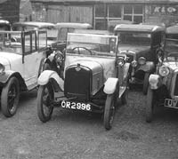Another view of the Austin 7s at Ray Walker's garage