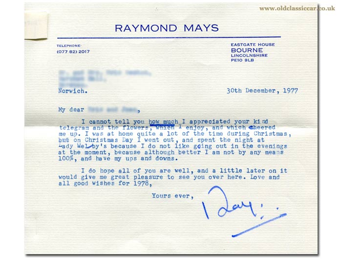 Letter sent by Raymond Mays