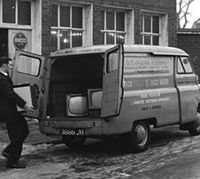 Delivering new Ekco televisions in a Bedford van