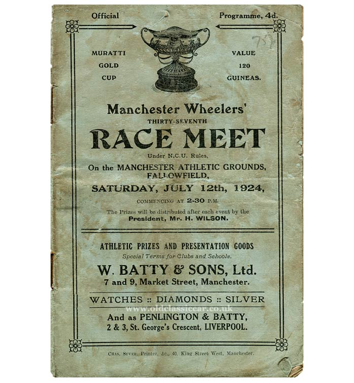 Manchester Wheelers race programme from 1924