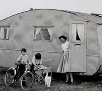 Camping scene in the 1940s