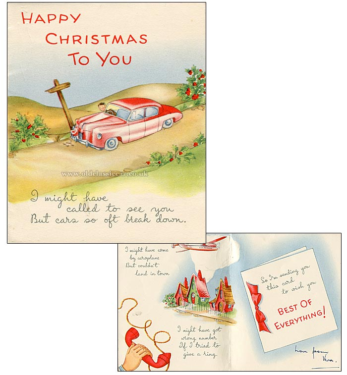Car-related Christmas card from the 1950s