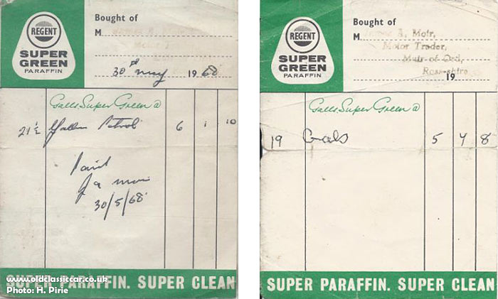 Petrol receipts from 1968