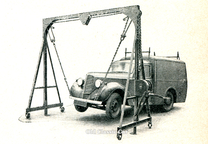 Commer 8cwt van on the hoist