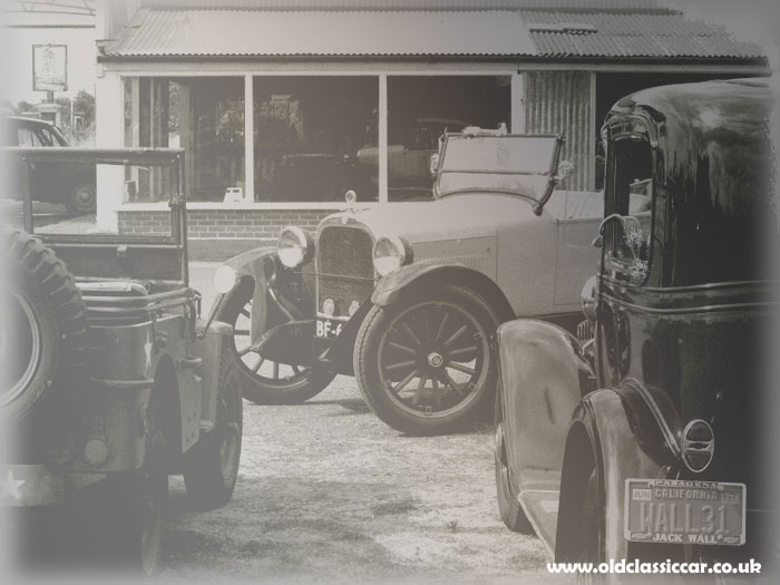 Outside the 1920s garage