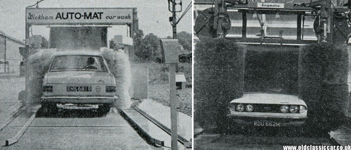 Two drive-through automatic car washes being demonstrated