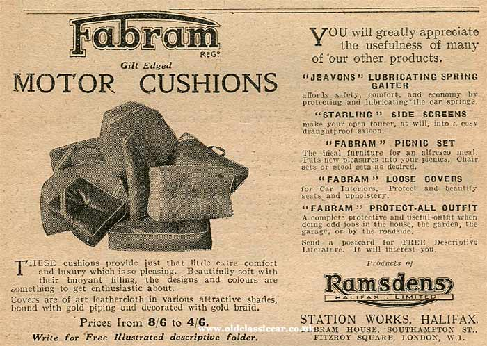 Fabram car cushions and side screens